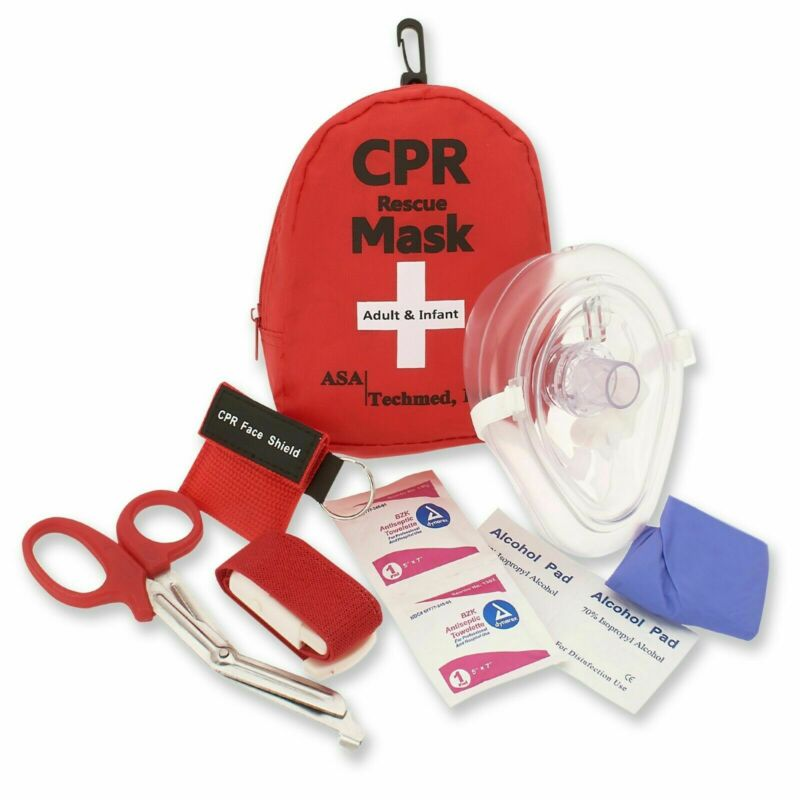 Emergency CPR Rescue First Aid Kit CPR Pocket Resuscitator One Way Valve + More