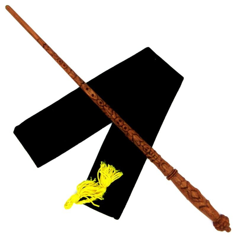 "15"" Hand Carved Igor Karkaroff Mahogany Wood Magic Wand Wizard w/ Velvet Bag"