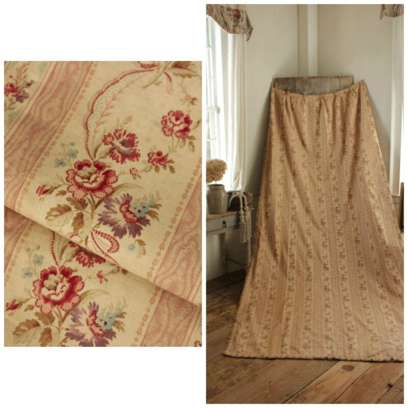 Antique curtain Biedermeier long French old drape faded floral design circa 1910