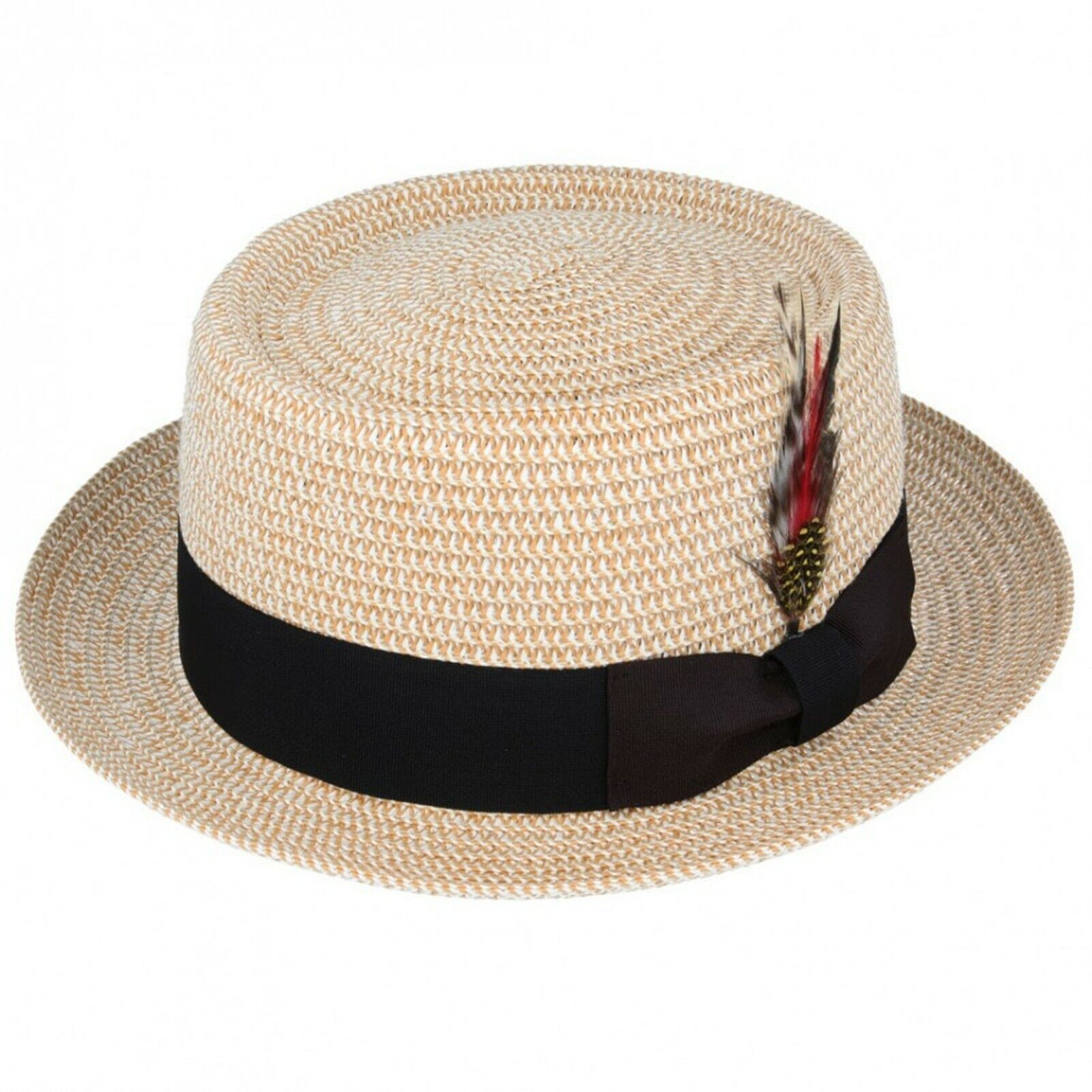 Unisex Straw Crushable Foldable Summer Trilby Hat  with Removable Feather