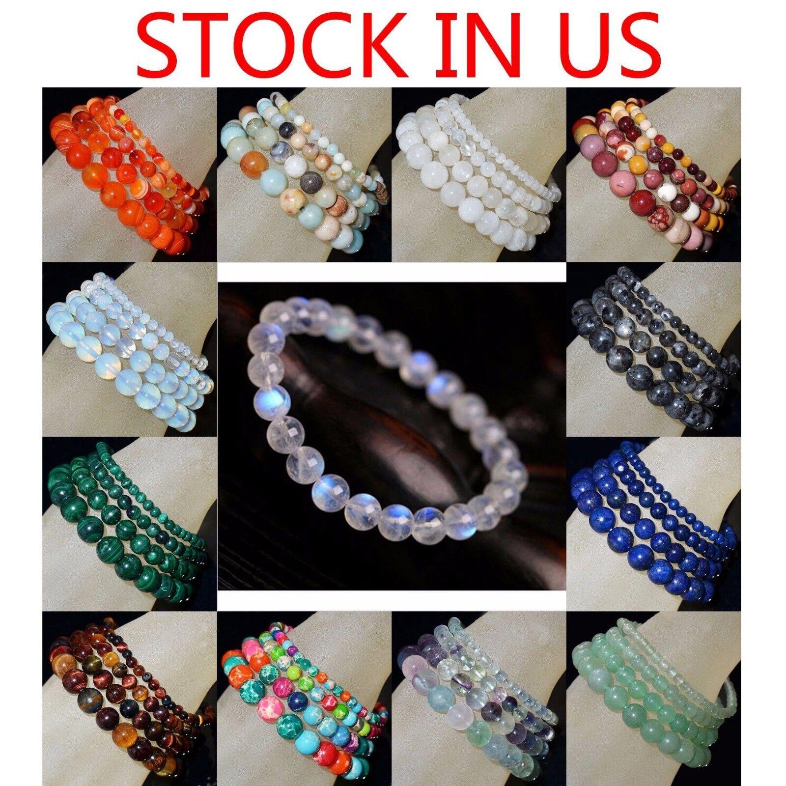 "Jewellery - Handmade Natural Gemstone Round Beads Stretch Bracelet 4mm 6mm 8mm 10mm 7.5"""