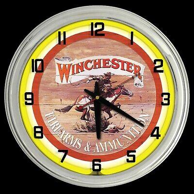 "16"" Winchester Firearms & Ammunition Sign Neon Clock Yellow Neon Chrome Case"