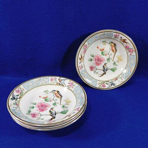 4 Antique Berry Dessert Bowls W.H. Grindley England Baroda Birds Of Paradise