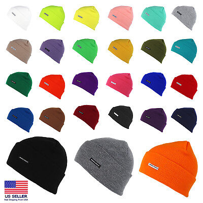 (Mororock Cuff Beanie Hat Men Women Acrylic Plain Knit Ski Cap)