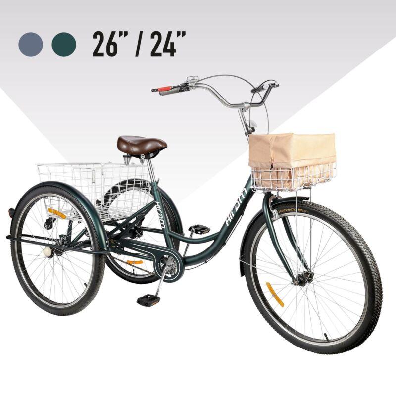 24 / 26 Zoll Räder Dreirad für Erwachsene mit Einkaufskorb Fahrrad 3-Rad-Dreirad