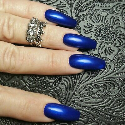 20 ELECTRIC BLUE Gel Polish Press On Long Coffin Nails BRIGHT DANCE HOUSE