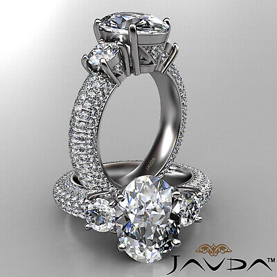 Women's 3 Stone Pave Set Oval Cut Diamond Engagement Ring GIA F Color VS2 3.8Ct