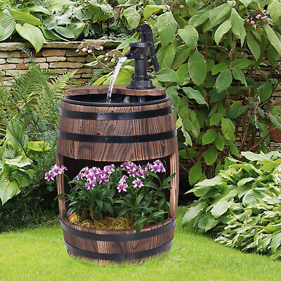 Outsunny 2-Tier Wood Water Pump Fountain for Garden Decor w/ Planting Flower Box