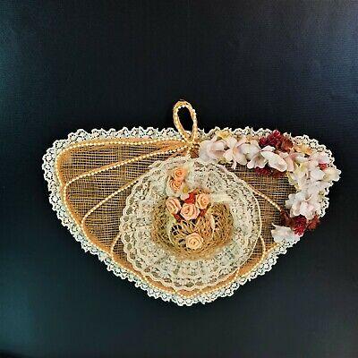 Vintage Woven Fan Shape Hanging Wall Decor Lace Flower Bead Embellishments