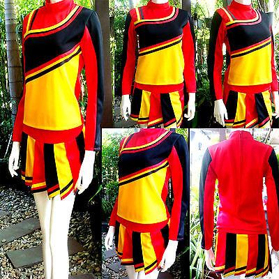 Cheerleader-Cheerleading Kostüm Schwarz/Rot/Gelb Fasching/Cosplay Gr.XS/S/M/L
