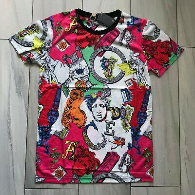 Versace Print Cotton Logos Statue Crew Neck Multicolor  Logo  T-shirt  Men's