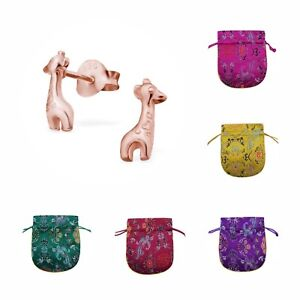 Childrens S Rose Gold Plated Sterling Silver Giraffe Stud Earrings Pouch