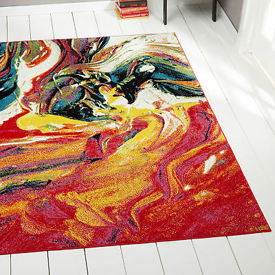 Modern Multi-Color Area Rug 5x7 Abstract Paint Carpet - Actu