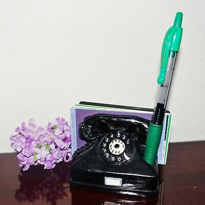 Black Rotary Dial Vintage Phone Business Card Pen Holder