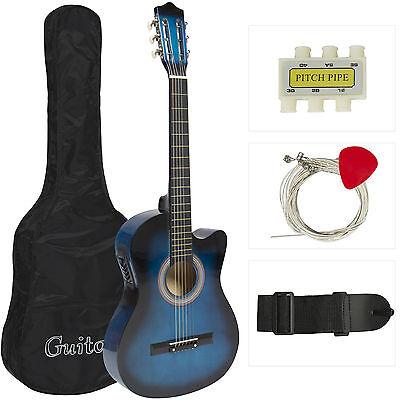 "38"" Acoustic Guitar Bundle Instrument Design With Guitar Case, Strap  Blue New"