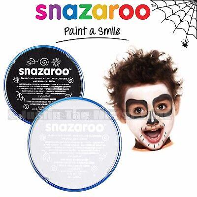 SNAZAROO FACE  BODY PAINT MAKE UP POT HALLOWEEN BLACK  WHITE SKULL SKELETON KIT ](Halloween Skeleton Body Paint)