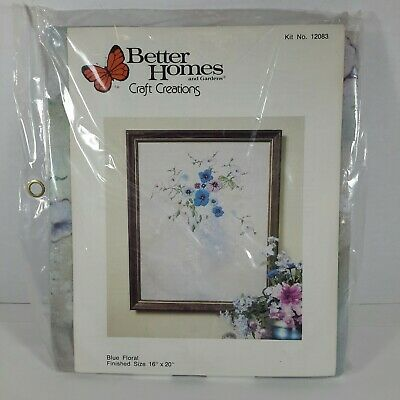Blue Floral Embroidery Preprinted Kit #12083 Vtg 1979 Better Homes & Gardens