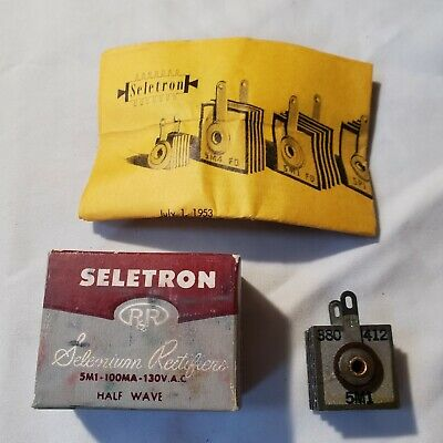Vintage Seletron Selenium Rectifier 5m1 Half Wave 100 Ma 5m1 H9 130vac Max