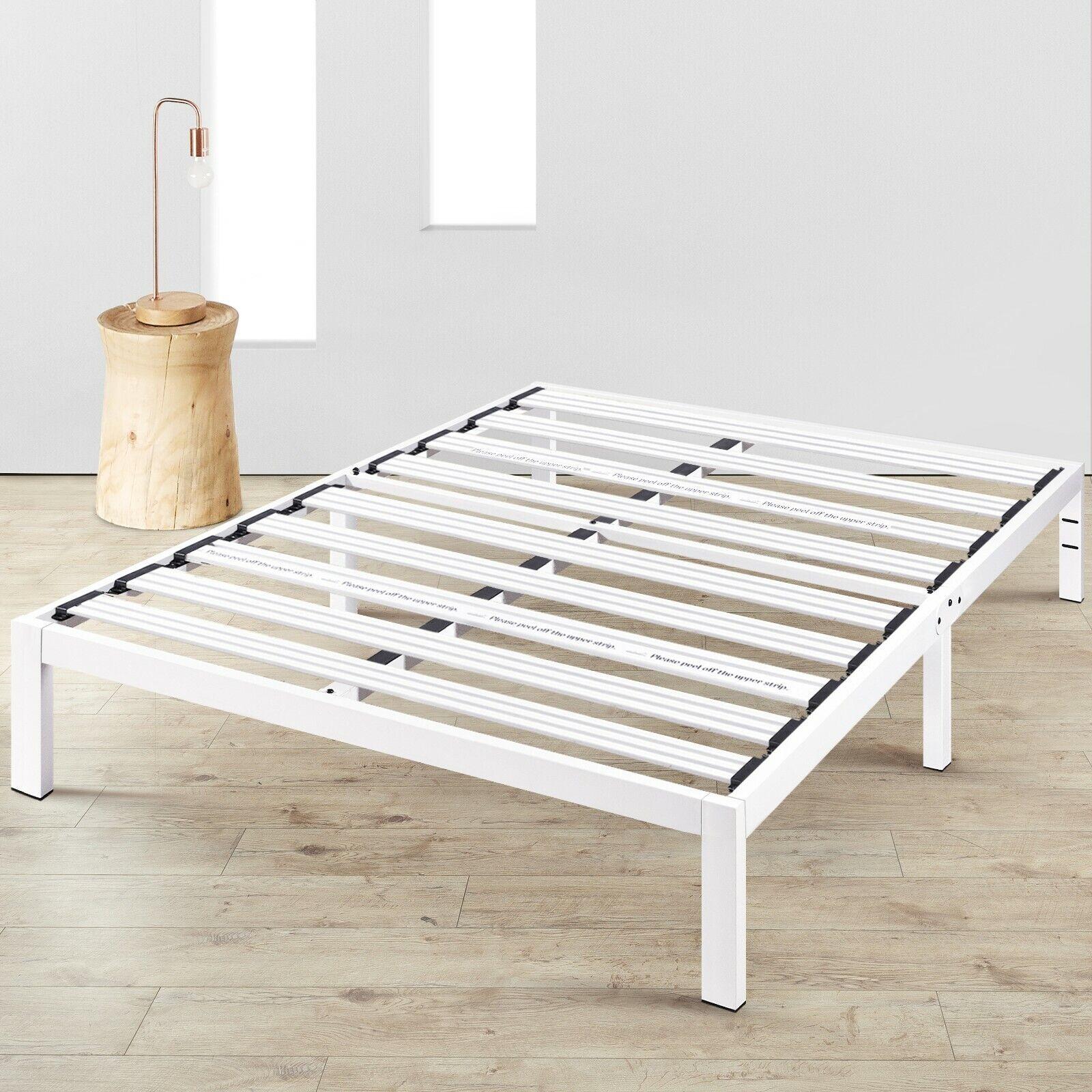 14'' Metal Platform Bed Steel Slat Support Underbed Storage