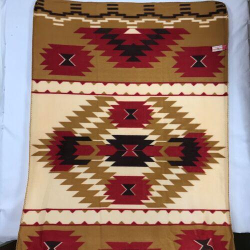 """ST. LABRE INDIAN SCHOOL Throw Blanket Aztec Tan Red Fleece 38"""" x 58"""""""