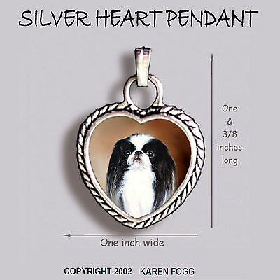 JAPANESE CHIN DOG - Ornate HEART PENDANT Tibetan Silver