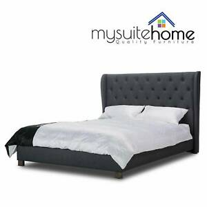 Rhea Grey or Dark Grey Double/Queen Fabric Modern Bed Frame