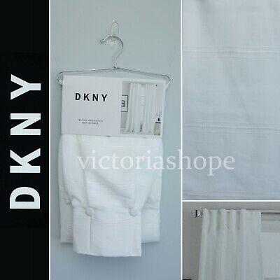 NEW DKNY 2 Pleat Back Tab Panels Window Curtain ~ Broadway Sheer ~ White ~ 50x84