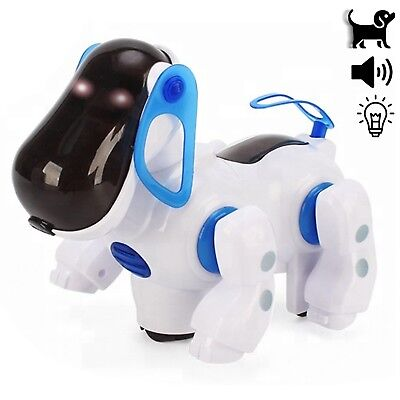 Robot Dancing Dog Bump and Go Electronic Toy LED Walking pet Puppy kids (blue)