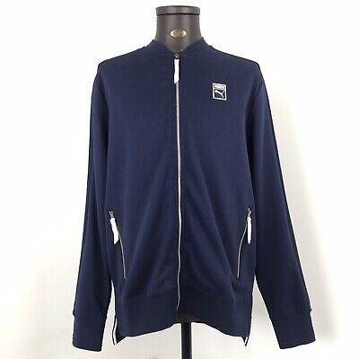 Mens BNWT New Navy Puma Zip Up Track Top Sweater Jumper Size Large L RRP: £45