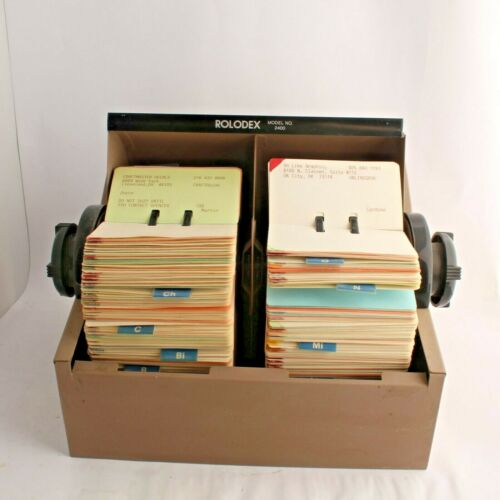 "Rolodex Model 2400 Metal Dual-Side Rotary File 2.5"" X 4"" Cards, A-Z Dividers VTG"