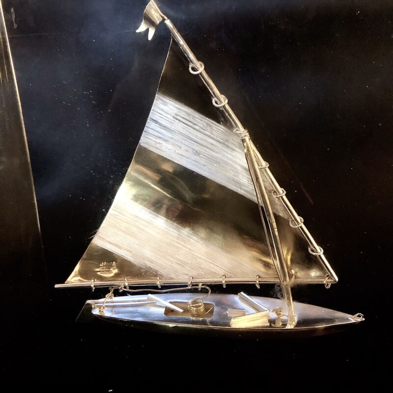 "Solid 925 Sterling Silver Sailboat Sculpture Figure In Resin 6.25"" X 5.75"""