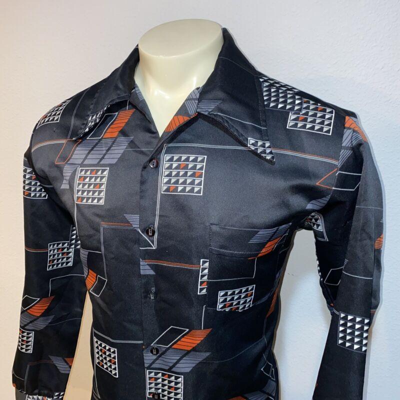 Vtg 60s 70s KINGSMEN Disco Shirt Dress Polyester Boogie Nights Black Mod MENS XL