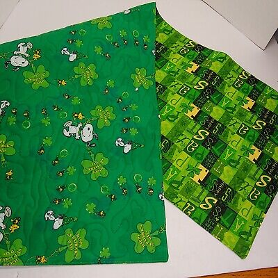 Handmade Quilted Table Runner St Patrick's Day Snoopy Peanuts Irish Shamrock #3