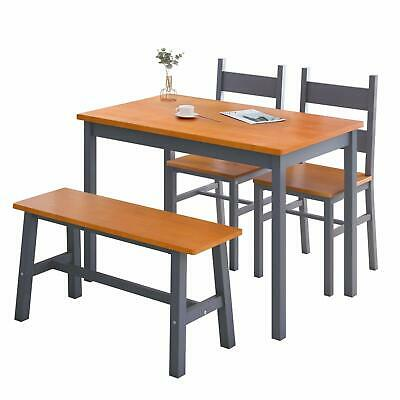 4 PCS Dining Table Set, Solid Wood Table w/ 2 Chairs and Bench Natural/Grey