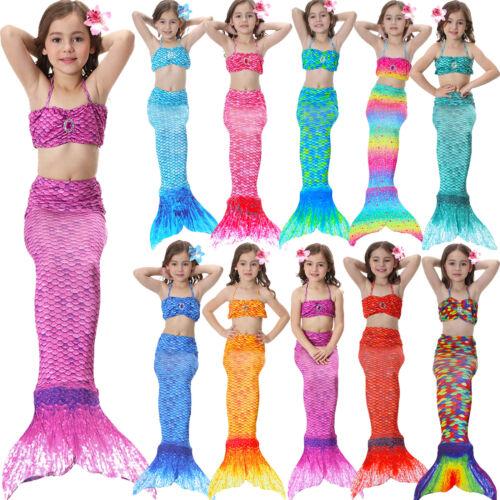 Schwanzflosse Meerjungfrau Kostüm Kinder Mädchen Bikini Bademode Badeanzug COS