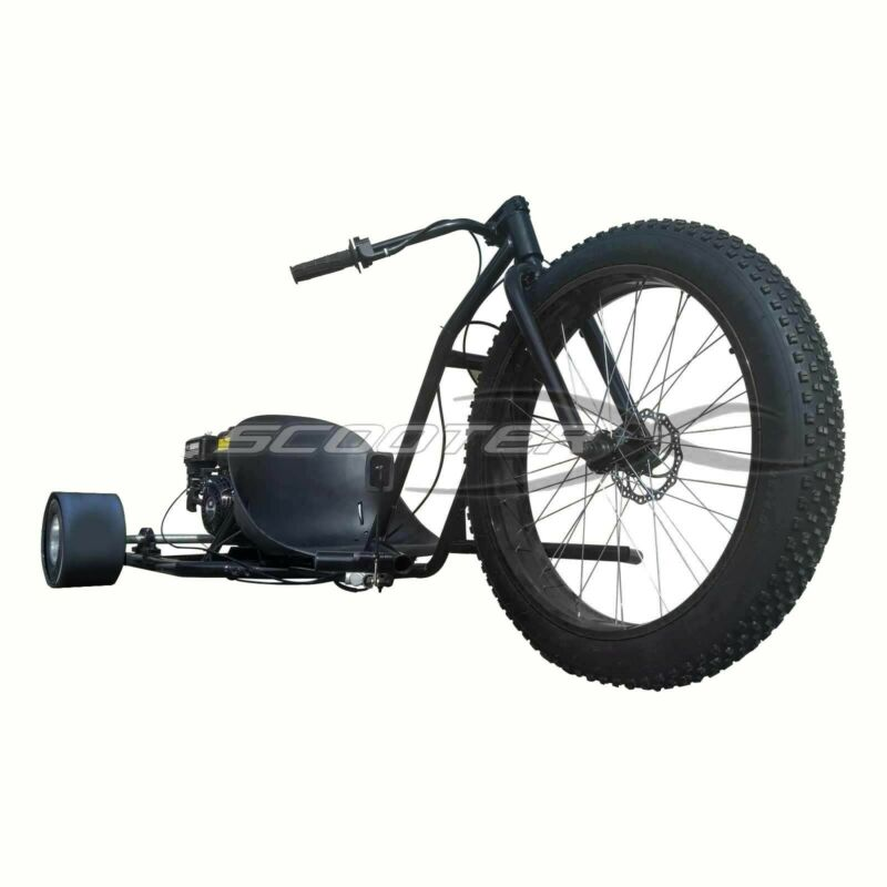ScooterX 6.5HP Drifter Go Cart Black Drift Trike Gas Powered Motorized 3 Wheeler