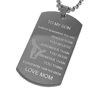 To My Son From Mom Stainless Steel Pendant Necklace
