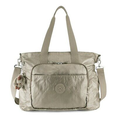 Kipling Miri Diaper Bag Metallic Pewter NEW NWT $169