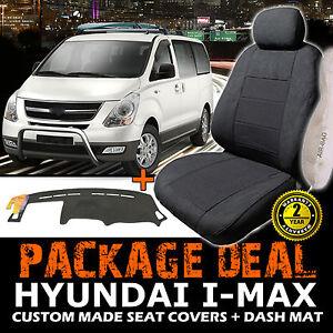 HYUNDAI I-Max Custom SEAT COVERS 3 ROW SET + Dash Mat 02/2008-2015 Charcoal IMAX