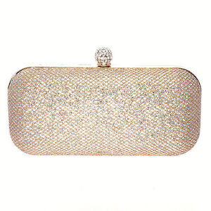 Purse Clutch Bag Shoulder Rhionestone Crystal Stud & Sequins Bridal Evening