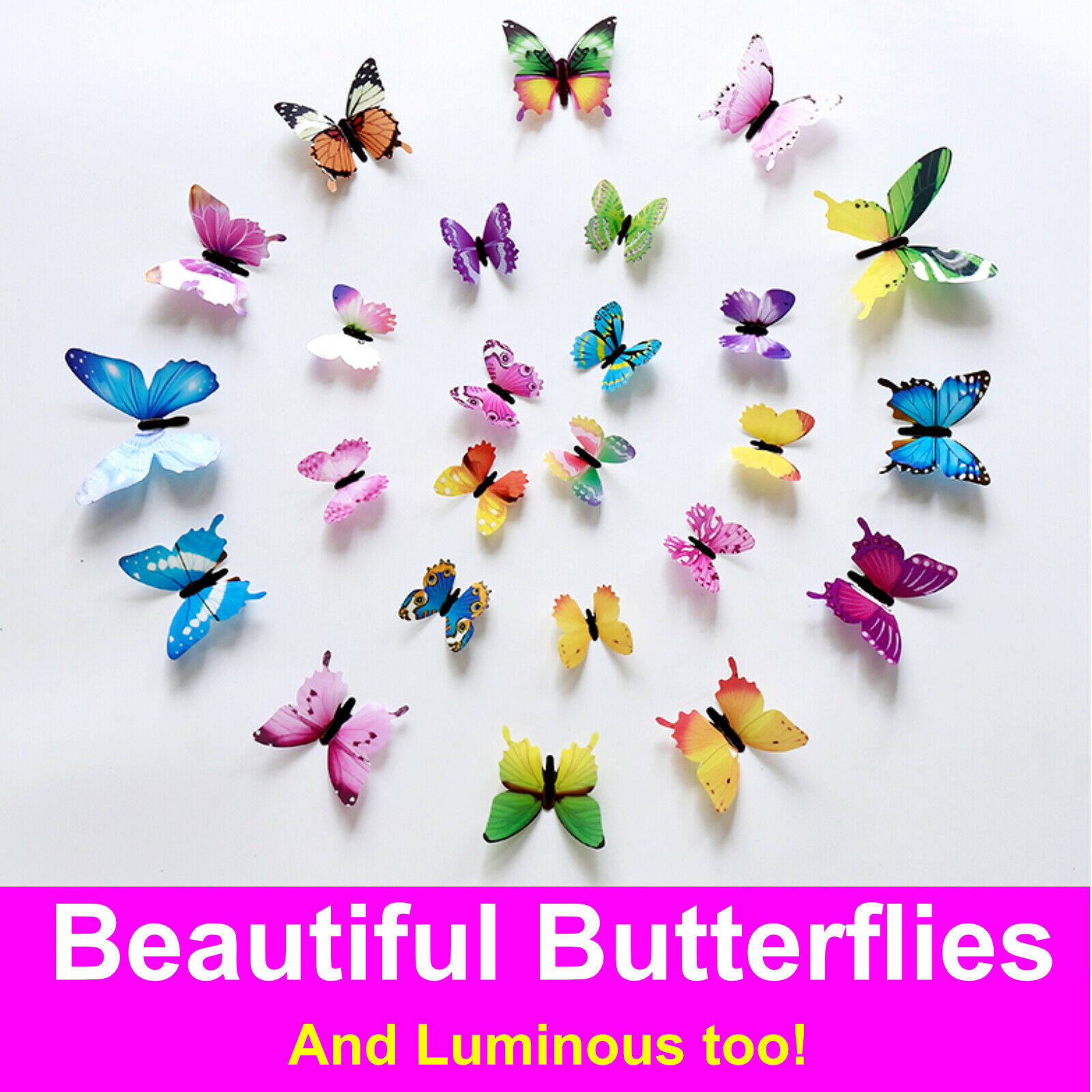 Home Decoration -  12 x 3D Luminous Butterfly Wall Stickers Home Decor Sticker Bedroom Girl