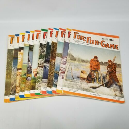 Vintage Fur Fish Game Magazine All 12 Issues of 1952 Articles Advertising Decor