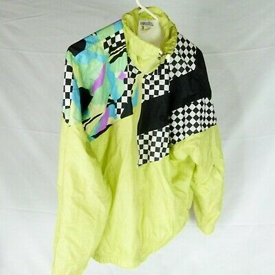 "Sergio Tacchini Vintage 90 Windbreaker Size 12 Yellow Green 50"" Chest 26"" Long"