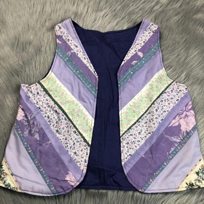Vintage 1970s Girls Handmade Purple Floral Patchwork Boho Vest