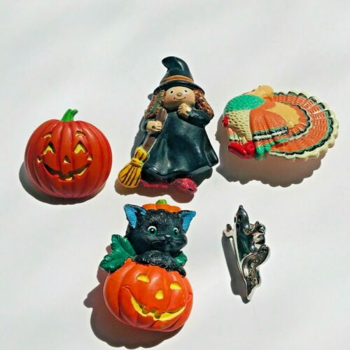 Vintage Halloween Thanksgiving Pin Brooches Jewelry Pumpkin Witch Turkey Ghost