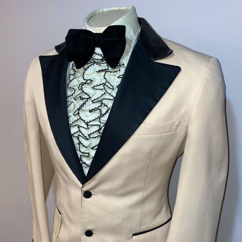 Vtg 60s 70s AFTER SIX Two Piece TUXEDO Jacket suit Cream MENS 38 & Bow Tie PROM