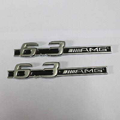 2x Black 6.3AMG Chrome Metal Sticker Emblem Badge cls63 Sport Coupe c63 3D Turbo