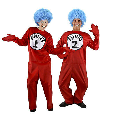 DELUXE THING 1 2 Cat In The Hat Dr. Seuss Costume Kit Adult Men Womens S M L XL - Thing 1 Adult Costume