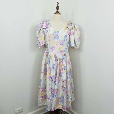 80s Dresses | Casual to Party Dresses Vintage 80s Bridesmaid Prom Dress Floral Puff Sleeve Romantic fit Size 12 - 14 $65.71 AT vintagedancer.com
