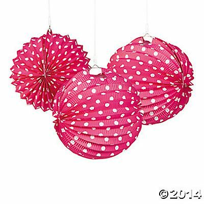 3 HOT PINK AND WHITE POLKA DOT HANGING LANTERNS Party,Wedding Decorations NEW (Pink And White Polka Dot Paper)